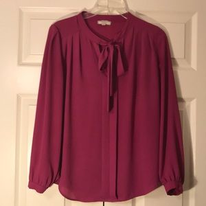 Pleione Tops - Hot Pink Tie Front Blouse